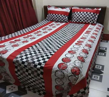 Digital Home Tex Cotton Fabric 7.5 By 8.5 Feet Multicolor King Size Bedsheet With Two Pillow Covers-Black and red