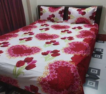 Digital Home Tex Cotton Fabric 7.5 By 8.5 Feet Multicolor King Size Bedsheet With Two Pillow Covers-White and red