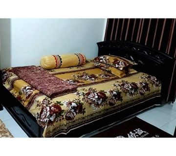 Digital Home Tex Cotton Fabric 7.5 By 8.5 Feet Multicolor King Size Bedsheet With Two Pillow Covers