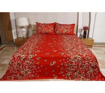 Digital Home Tex Cotton Fabric 7.5 By 8.5 Feet Multicolor King Size Bedsheet With Two Pillow Covers-red