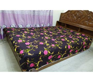 Digital Home Tex Cotton Fabric 7.5 By 8.5 Feet Multicolor King Size Bedsheet With Two Pillow Covers-coffee