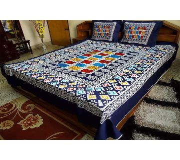 Digital Home Tex Cotton Fabric 7.5 By 8.5 Feet Multicolor King Size Bedsheet With Two Pillow Covers-Blue