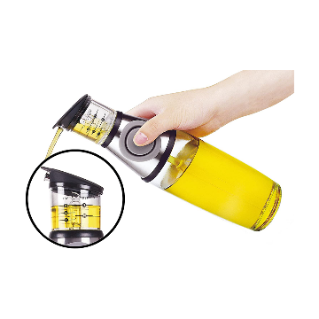 Plastic Press and Measure Oil Dispenser - 500 ml - Transparent