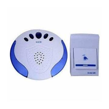 Sage Portable Wireless Door Calling Bell With Remote Control - White and Blue