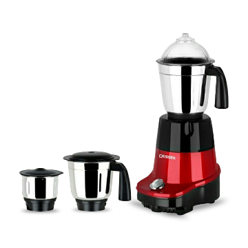Disnie Kitchen Star 3 In 1 Mixer Grinder and Blender - 1250W - Black and Red