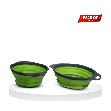 Pack of 2 Silicone Kitchen Collapsible Filter Colander Set - Green - FBG-201
