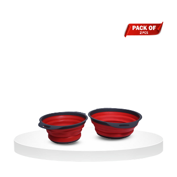Pack of 2 Silicone Kitchen Collapsible filter Colander set - Red - FBR_201