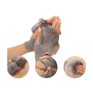 Wool Fingerless Hand Gloves For Women - Gray