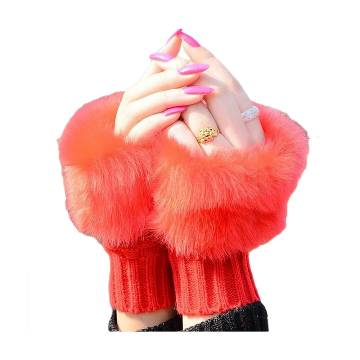 Wool Fingerless Hand Gloves For Women - Red