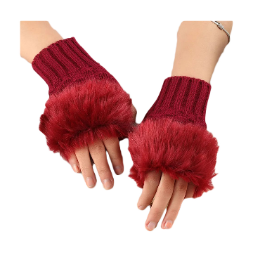 Wool Fingerless Hand Gloves For Women - Maroon