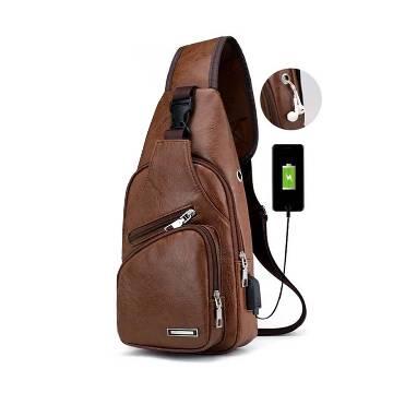 Leather Crossbody Bag - Brown - GP-586