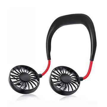 Wearable Neckband Rechargeable Mini Fan - Black