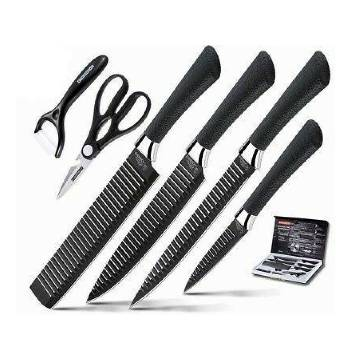 6 Pieces Professional Stainless Steel Knife Set - Black