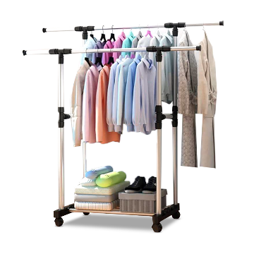 Stainless Steel Double Cloth Rack - Sliver - CB05