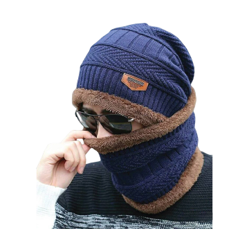 Woolen Full Brand Hat Winter Cap for Unisex - Navy Blue