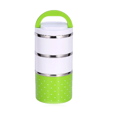 3 Layer Lunch Box Set - Green and White
