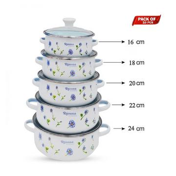 Reona Enamel Stoneware Cesserole Set 10 pcs With Glass - White