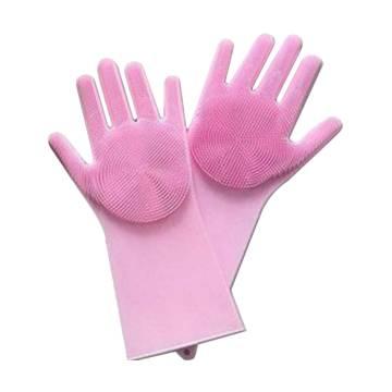 Silicone Dish Washing Kitchen Hand Gloves One Pair - Pink (CG-505)
