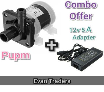 Mini Water Pump DC 220 Volt, Water Proof with Power Adapter (Combo + Free)