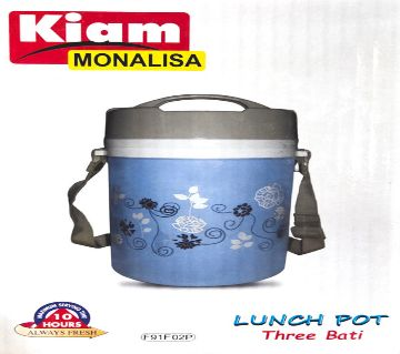 Monalisa Steel Hot Tiffin Carrier Lunch Pot 3 Bowl