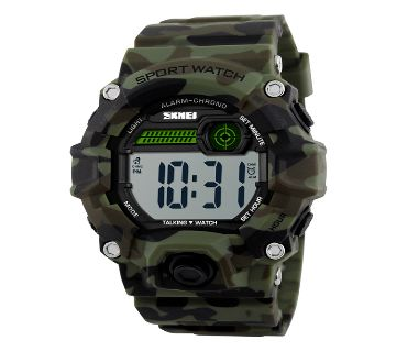 SKMEI 1162 - Camouflage Green (Talking Time Function) Watch