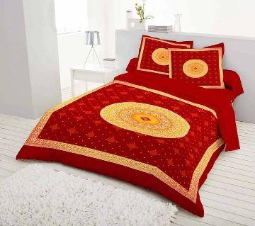 Digital Printed Red Color Cotton Bedsheet