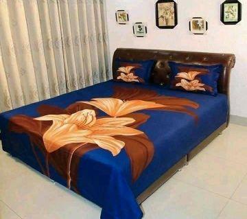 Digital Printed Blue Color Cotton Bedsheet