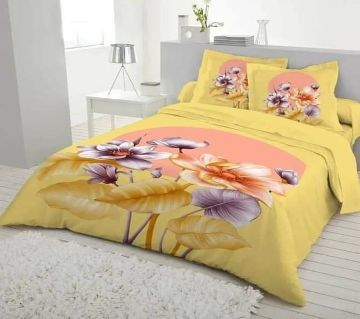 Digital Printed Yellow Color Cotton Bedsheet