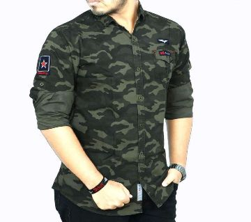 Army Green Cotton Long Sleeve Casual Shirt For Men