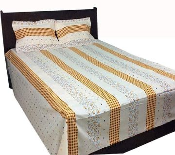 Cotton Double Size Bed Sheet With 2 Pillow