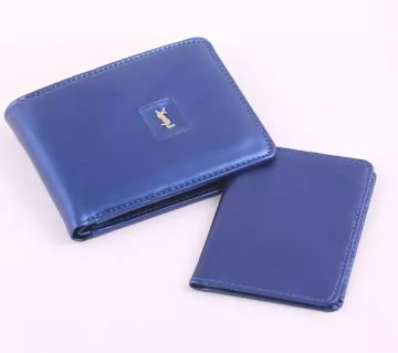 YSL Brand Luxury Slim Sky Blue Wallet for Men Copy