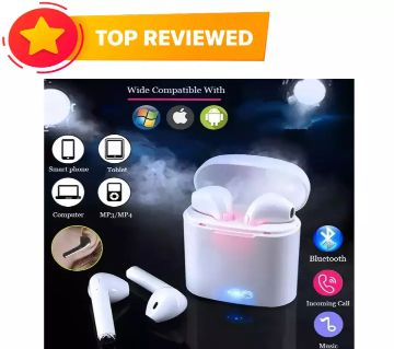 i7s TWS Mini Wireless Bluetooth AirPods Earbuds with Charging case and Mic - White