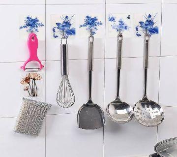 Adhesive Hooks 4 Pc Blue Design