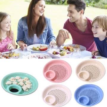 Double Layer Round Kitchen Drain Dumpling Plate