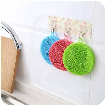 Soft Silicone Dish Washing Sponge Scrubber Brush Kitchen Double Side Cleaning Antibacterial Tool Random Color-1pc