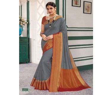 Rajguru Indian Silk Katan Sharee Without Running Blouse Piece For Womens By Sharee&Bedding.-ash and gold