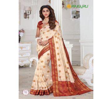 Rajguru Indian Silk Katan Sharee Without Running Blouse Piece For Womens By Sharee&Bedding.-Golden