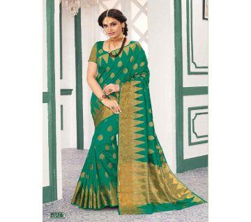 Rajguru Indian Silk Katan Sharee Without Running Blouse Piece For Womens By Sharee&Bedding.-Green