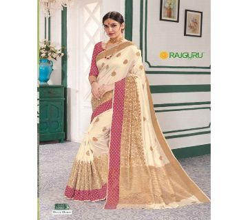 Rajguru Indian Silk Katan Sharee Without Running Blouse Piece For Womens By Sharee&Bedding.-Golden and red