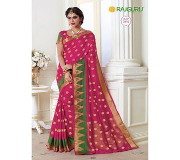 Rajguru Indian Silk Katan Sharee Without Running Blouse Piece For Womens By Sharee&Bedding.-pink and green