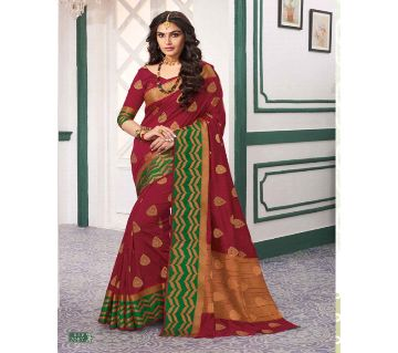 Rajguru Indian Silk Katan Sharee Without Running Blouse Piece For Womens By Sharee&Bedding.-red and green