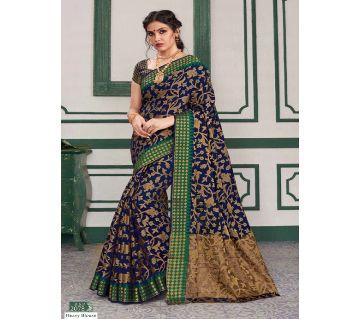 Rajguru Indian Silk Katan Sharee Without Running Blouse Piece For Womens By Sharee&Bedding.-blue