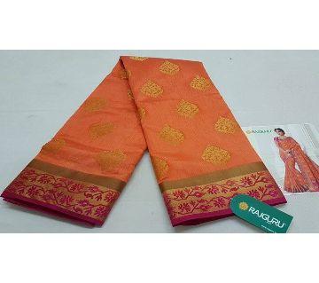 Rajguru Indian Silk Katan Sharee Without Running Blouse Piece For Womens By Sharee&Bedding-Orange