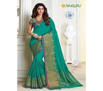 Rajguru Indian Silk Katan Sharee Without Running Blouse Piece For Womens By Sharee & Bedding-green