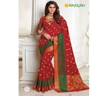 Rajguru Indian Silk Katan Sharee Without Running Blouse Piece For Womens By Sharee&Bedding-red and green