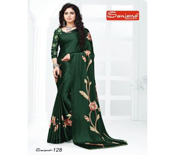 Indian Samu Silk Sharee With Running Blouse Piece For Women - Green Color