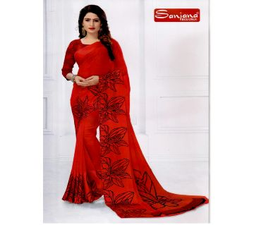 Georgette Sharee With Running Blouse Piece For Women - Red & Black Color