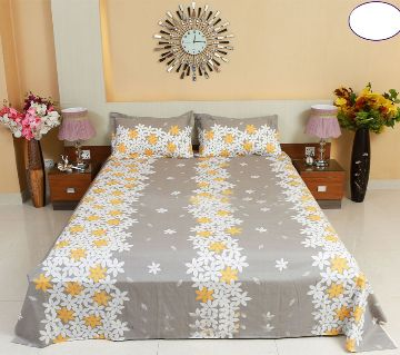 Digital Home Tex Cotton Fabric 7.5 x 8.5 Feet King Size Bedsheet With Two Pillow Covers - Off White Color