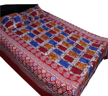 Digital Home Tex Cotton Fabric 7.5 x 8.5 Feet King Size Bedsheet With Two Pillow Covers - Multicolor