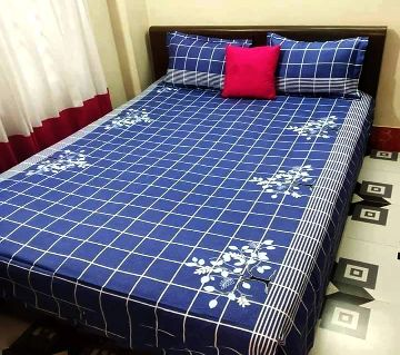 Digital Home Tex Cotton Fabric 7.5 x 8.5 Feet King Size Bedsheet With Two Pillow Covers - Blue & White Color